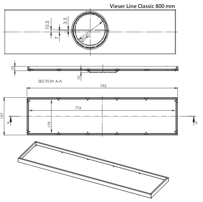 Vieser Line-Classic Lattiakaivo 800- mm mittakuva