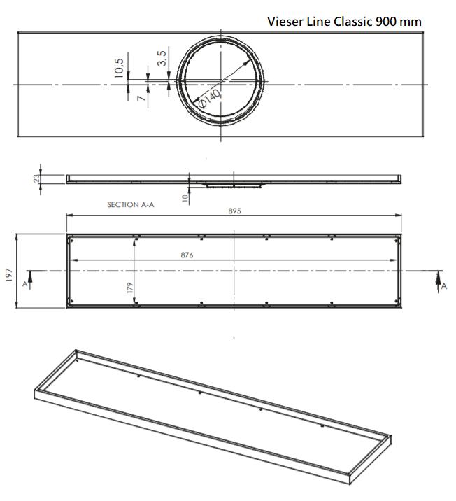 Vieser Line Classic Lattiakaivo 900 mittakuva