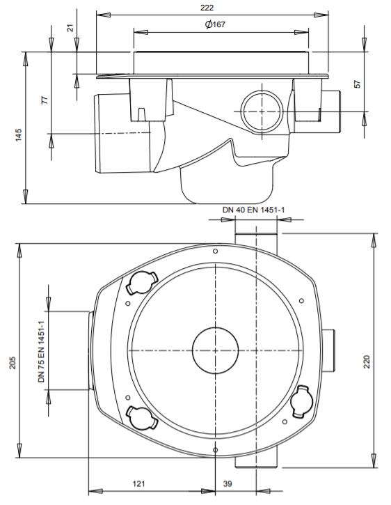Vieser One Vaakakaivo DN 75 3×32-40 Valutuilla Mittakuva