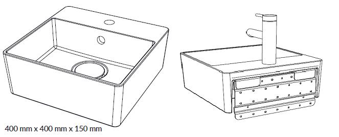 Woodio Malja-allas Cube 40 Hanapaikalla ja seinäkiinnityksellä - edestä - takaa- mittakuva