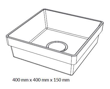 Woodio Malja-allas Cube 40 Tasoon Upotettava mittakuva