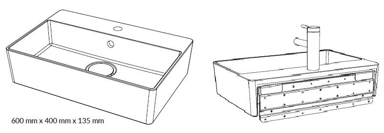 Woodio Malja-allas Cube 60 Hanapaikalla, Seinäkiinnitys edestä-takaa-mittakuva