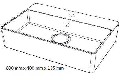 Woodio Malja-allas Cube 60 Hanapaikalla mittakuva